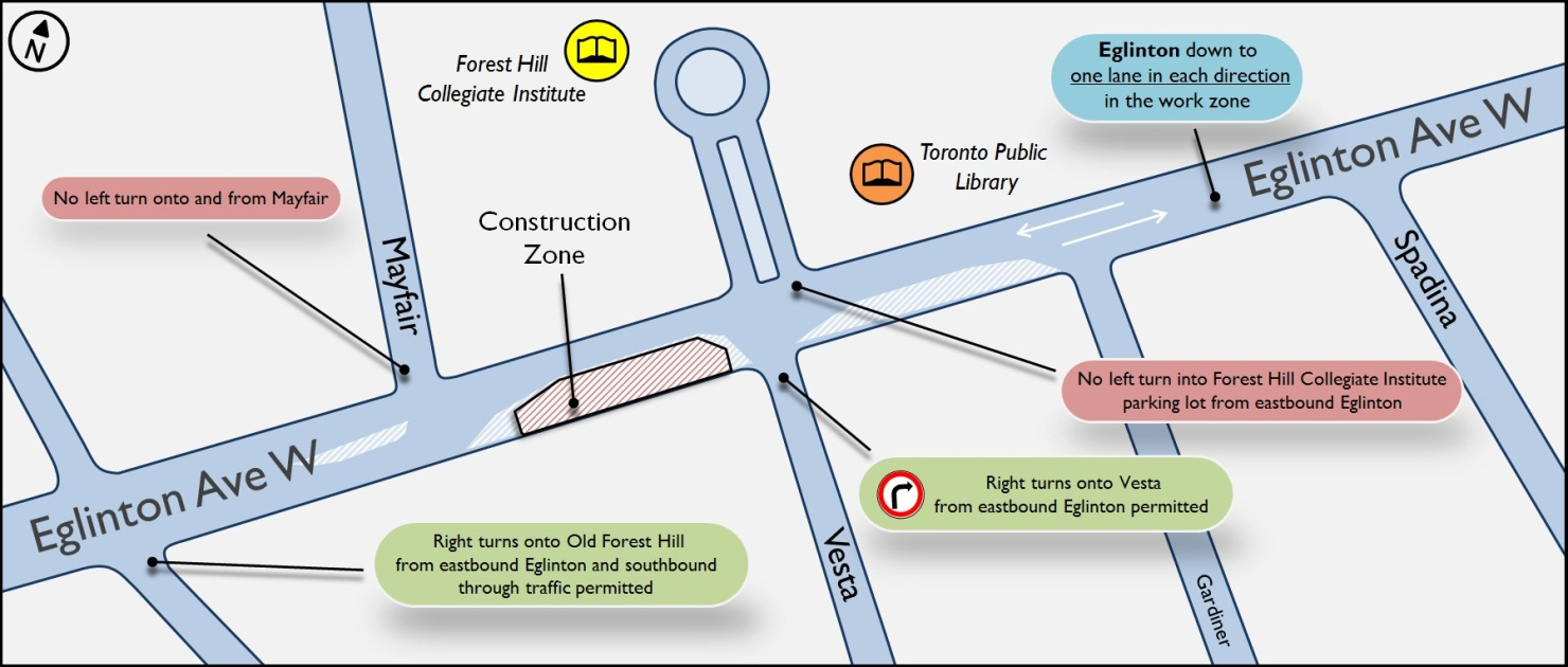 Map of Mayfair cross passage construction