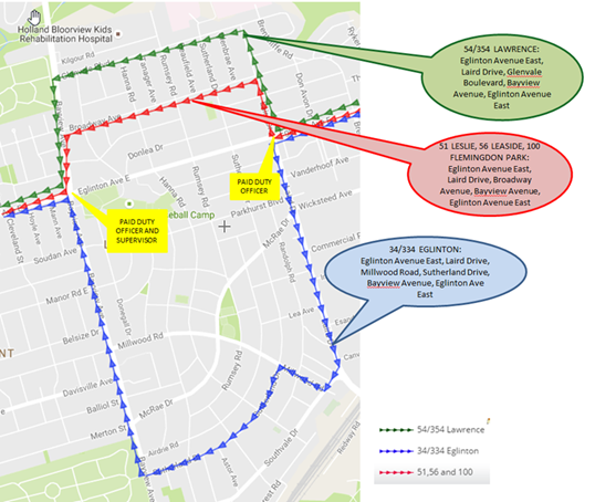 Map showing TTC diversion route for the Eglinton Closure and Detour for Road Deck Repair