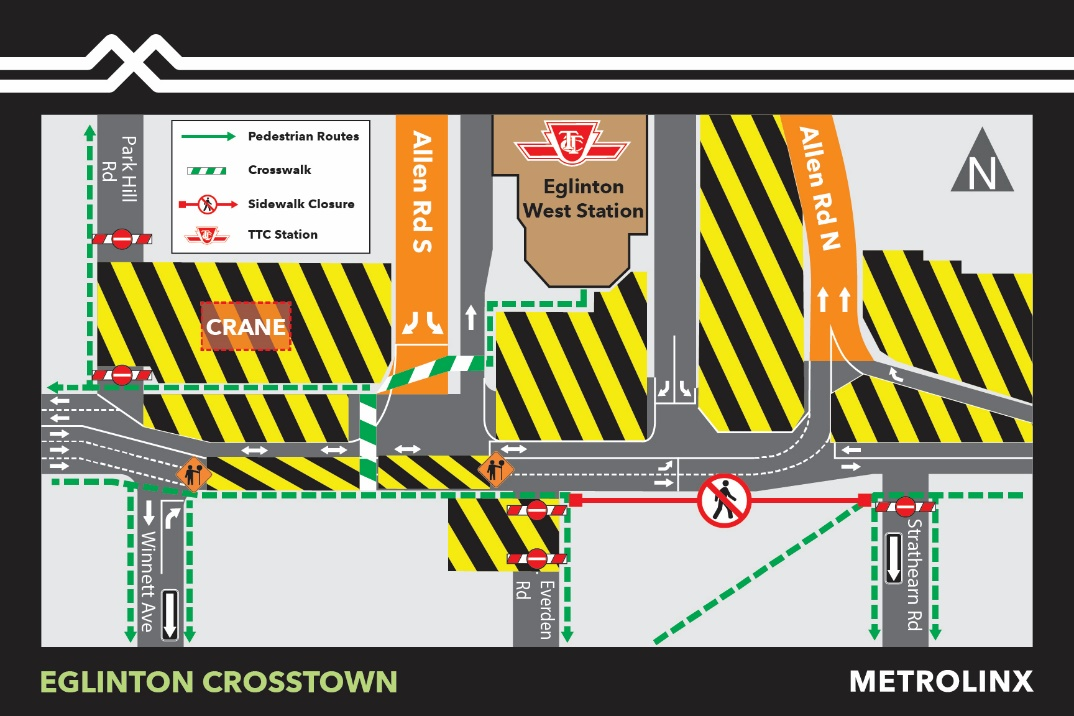 Overnight Lane Reductions at Allen Road and Eglinton Avenue West - March 7–8, 2020