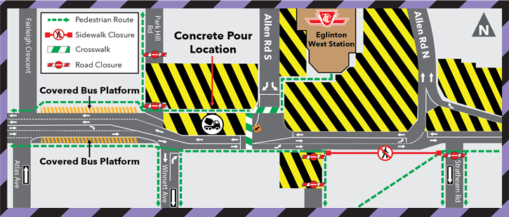 Upcoming Concrete Pour at Allen Road and Eglinton Avenue West July 31, 2020
